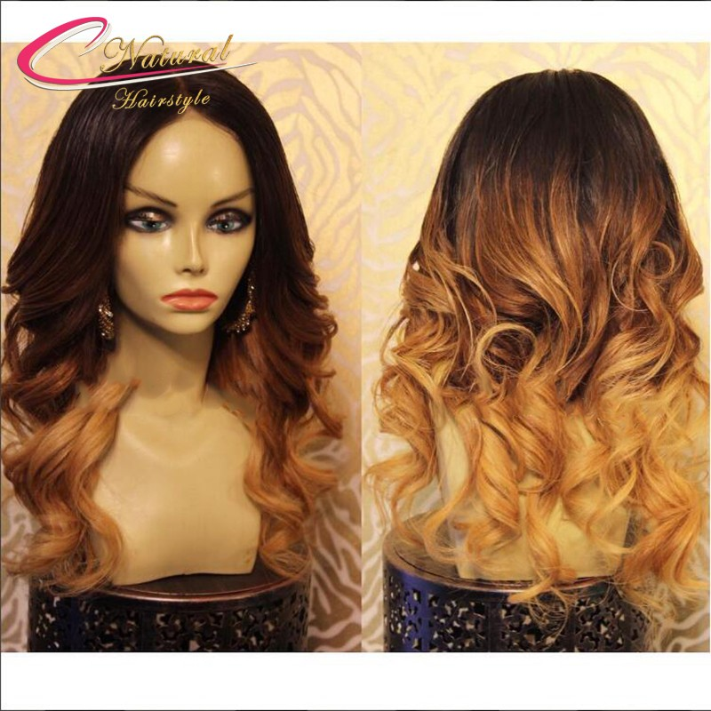 1B#4#27# Three Tone Ombre Human Hair Full Lace Wig Ombre Blonde Brazilian Virgin Hair Glueless Lace Front Wigs For Black Women