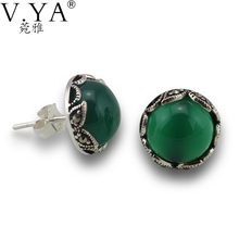 100% Real 925 Sterling Silver Earrings for Women High Quality Vintage Thai Silver Green Stone S925 Solid Silver Earring CE183(China (Mainland))