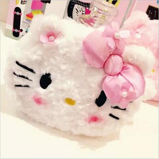 2016 мода Новые Плюшевые женщины макияж сумка hello kitty сумочка высокой емкости ...