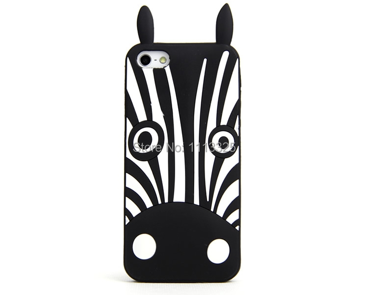 Cute 3D Lovely Zebra&Dogs Silicone Case Cover Phone 5 5G 5S - facom store