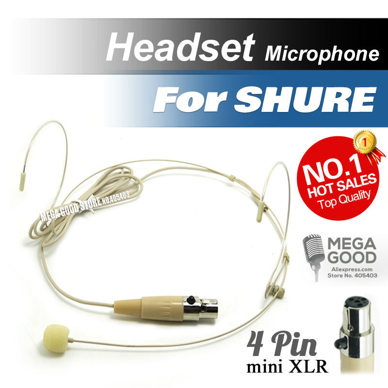 free shipping condenser headworn headset microphone with mini 4 pin xlr ta4f connector for
