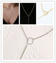 Hot-selling fashion bar simple necklace  Exquisite Beautiful Simple Golden Bar Lariat Necklace Gift(China (Mainland))