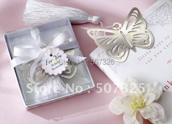 200Pcs/LOT, Fashion Wedding Favor Party Festival Cute Butterfly Alloy Bookmark Baby Gift, With Tassel, Christmas Gift