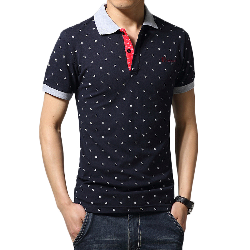 2016 Fashion Summer Men's Clothes Men Cotton Short Sleeve Slim Fit Anchor Print Polo Shirt Polos Men Casual Polo Shirts #1016(China (Mainland))
