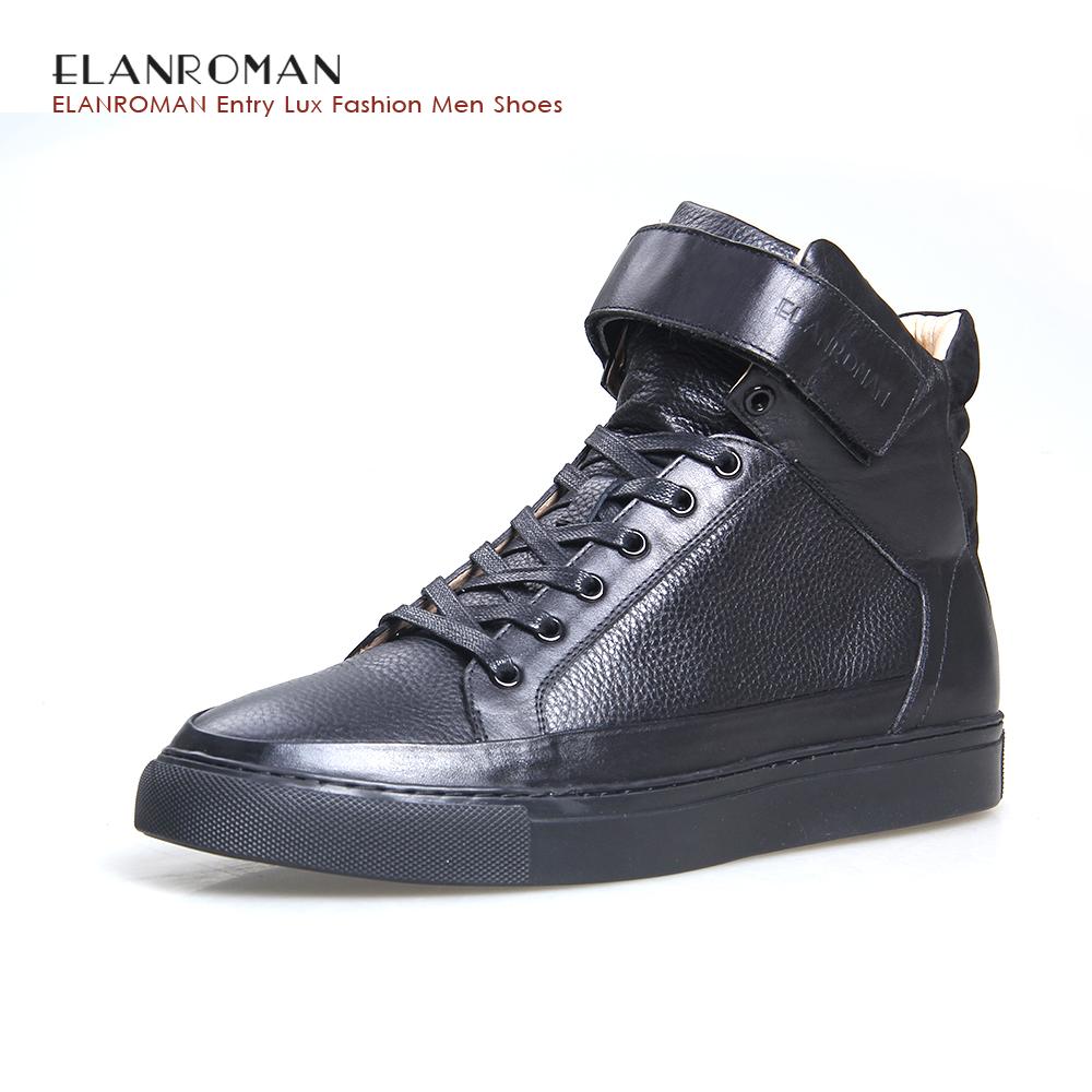 ELANROMAN Men Fashion NAPPA Shoes 2017 Spring Casual Men Flats British Design Men Hi Top Boots Casual Leather Boots(China (Mainland))