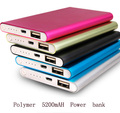 Portable 5200mAh Polymer Power Bank Super Slim Phone Powerbank External Battery Charger for Mobilephone iphone 5 6 Plus Samsung