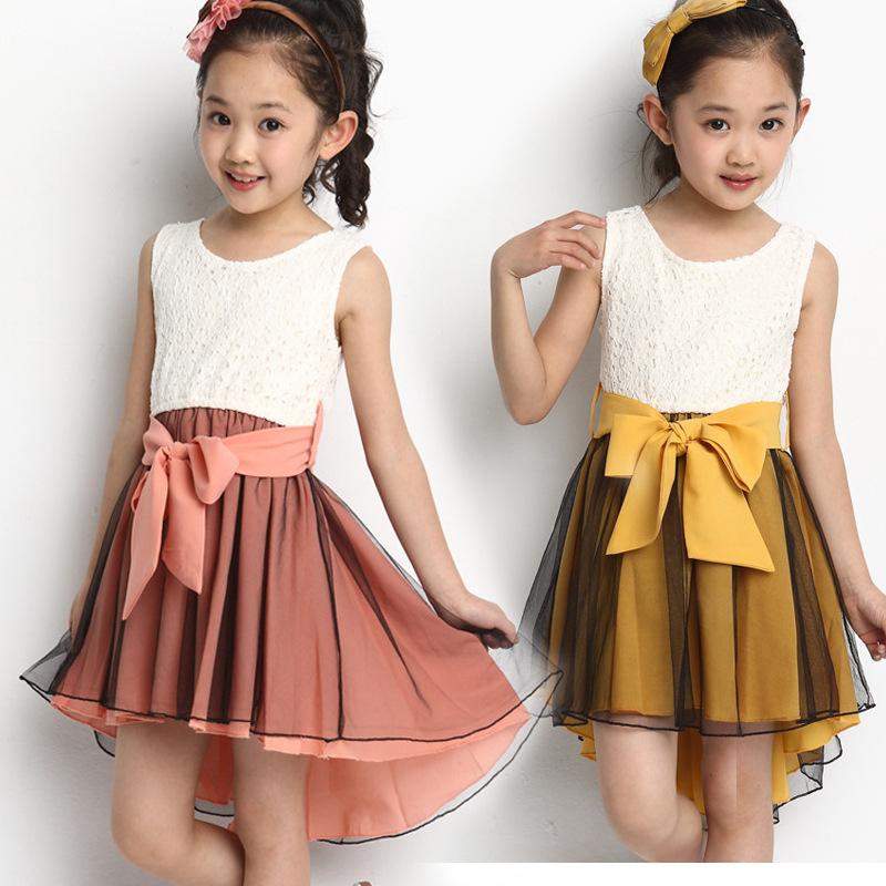 2016 Girls Summer Dress Big Bowknot Vest Dovetail Dress Summer Girl Dress Children Performance Princess Dresses for Girls(China (Mainland))
