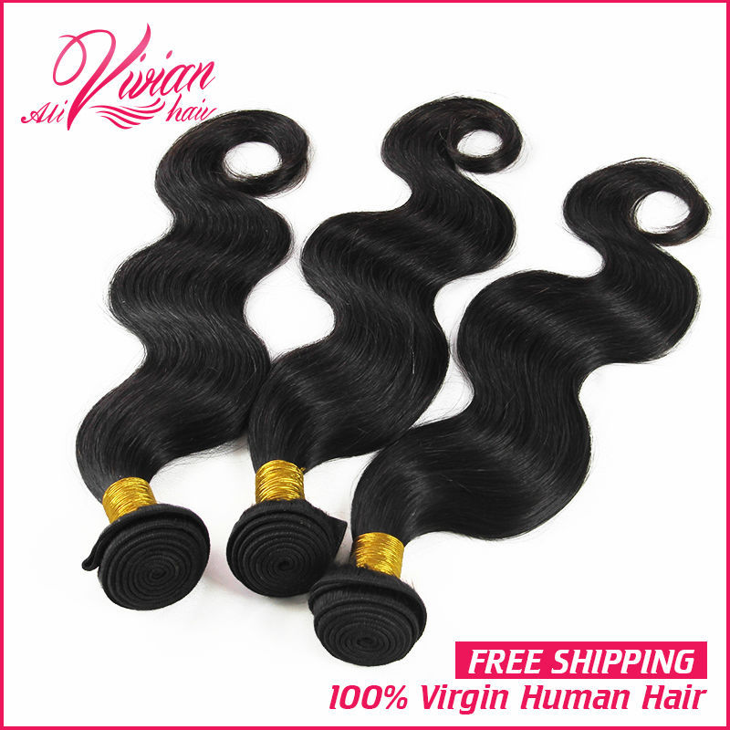 King Hair 7A Peruvian Virgin Hair Bundles 3pcs/lot Peruvian Virgin Hair Body Wave Unprocessed Peruvian Human Hair Weave(China (Mainland))