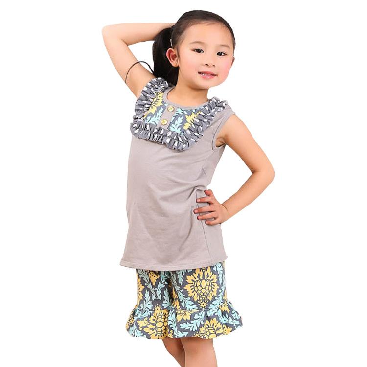 Latest No MOQ Factory direct sale summer cotton grey print girls boutique bib outfits set matching ruffle knit shorts pants(China (Mainland))