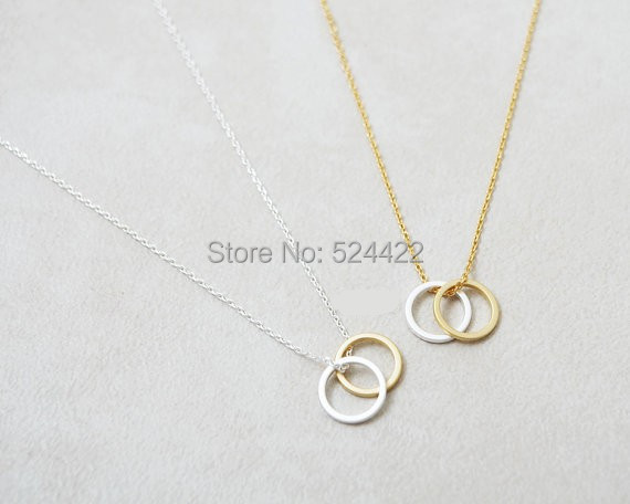 Min 1pc Simple Gold and Silver Double Circles Pendant Necklaces for Women Plain Summer Chain Necklaces Couple Necklaces XL-054(China (Mainland))