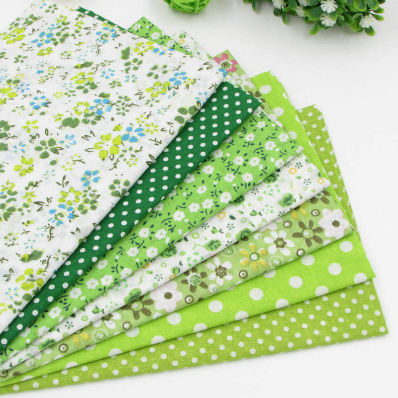 7pcs Green 100% Cotton Quilting Fabric for DIY Sewing Patchwork Kids Bedding Bags Tilda Doll Baby Cloth Textiles Fabric 50*50cm(China (Mainland))