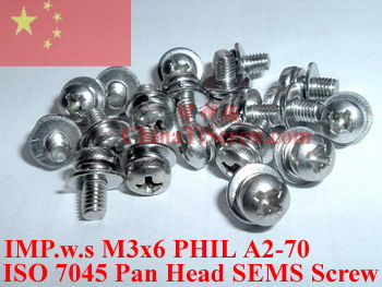 Stainless Steel SEMS screws M3x6 Pan Head 1# Phillips Driver Polished ROHS - ChinaTiScrew store