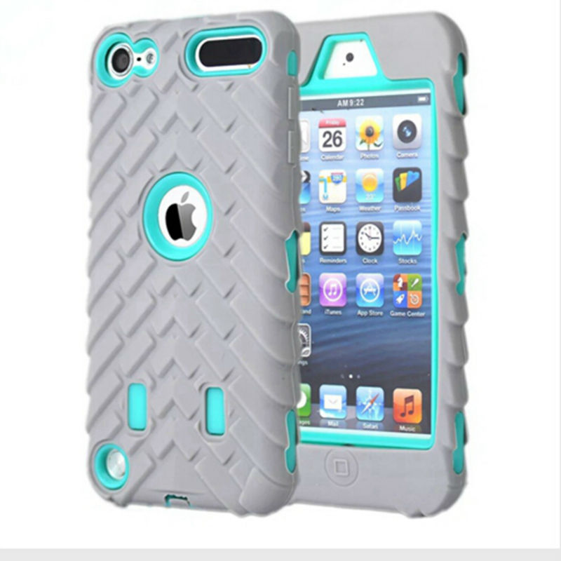 New Tyre Tire Tread Robot Hybrid Anti Shock Armor Rubber Silicone back case skin cover For Apple Ipod Touch5(China (Mainland))