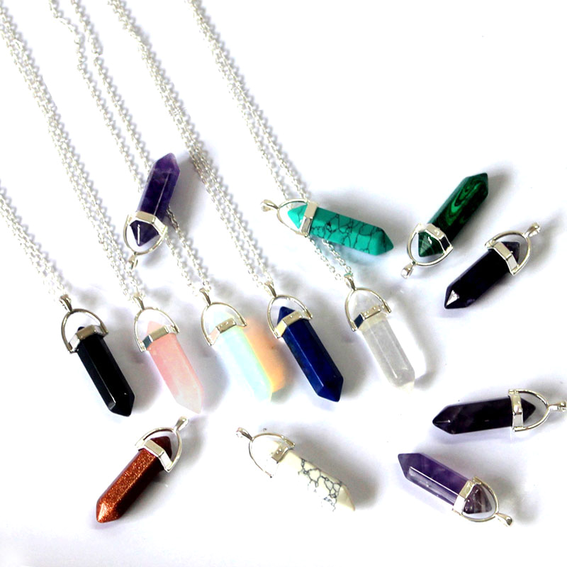 2016 statement necklaces Quartz Crystal Necklace bullet shape natural stone pendant necklaces for women jewelry wholesale