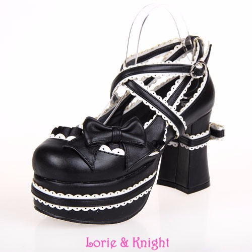 Custom Color Super High Heel Gothic Lolita Cosplay Shoes Lace Trim Criss Cross Chunky Heel Platform Shoes Free Shipping
