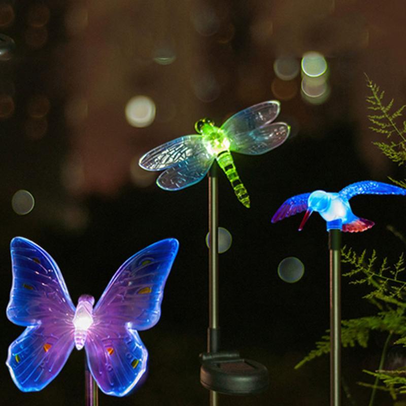 Solar LED Light Cartoon Animal Design Outdoor Garden Lawn Patio Lamps Landscape Decoration Light Drangonfly / Butterfly / Bird(China (Mainland))