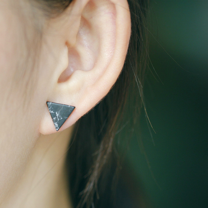Minimalist Simple Fashion Punk Black White Marble Faux Stone Geometric Triangle Stud Earrings For Women Girl Cheap Price<br><br>Aliexpress
