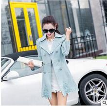 women jacket spring jacket women  Ms. Spring and Autumn new Slim thin coat long section of hollow lace coat free shipping