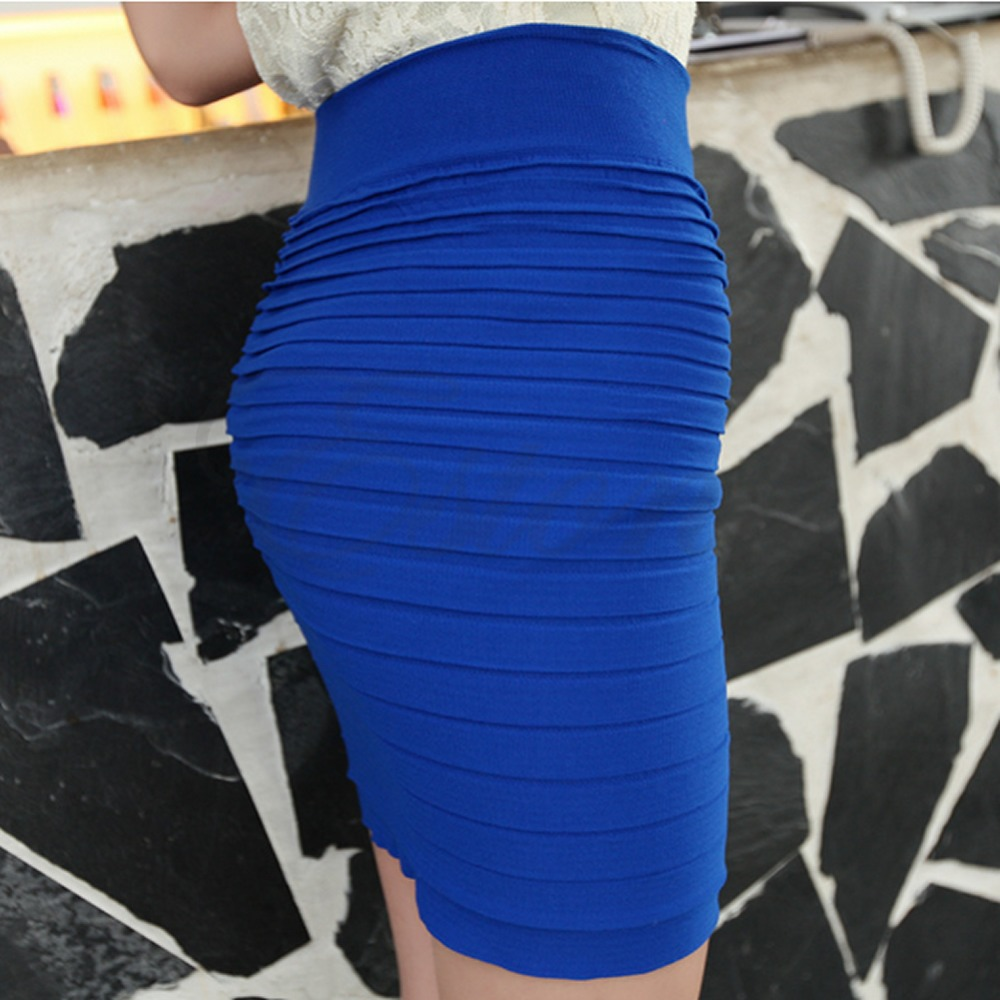 S105- Free Shipping Women's Sexy Pencil Candy Color Elastic High Waist Stretchy Slim Seamless Skirt(China (Mainland))