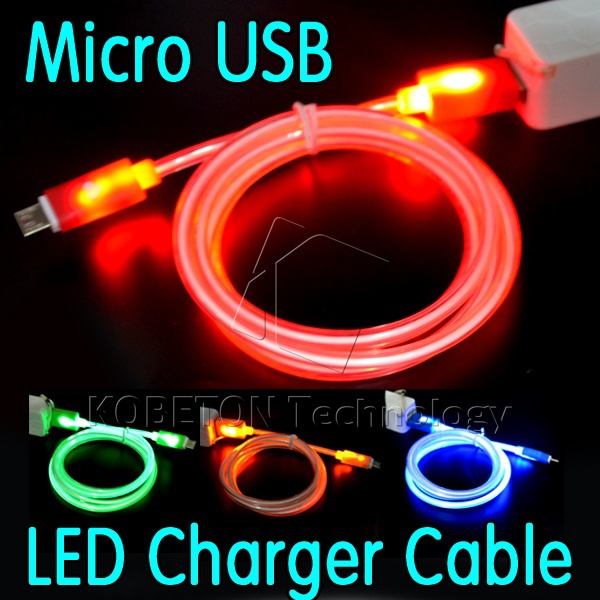 V8 Micro USB Data Sync Charger LED Cable 1M for HTC One Nexus G1 G2 G3 G3 Huawei for Samsung Galaxy S3 S4 S5 S6 edge Note 2 3 4(China (Mainland))