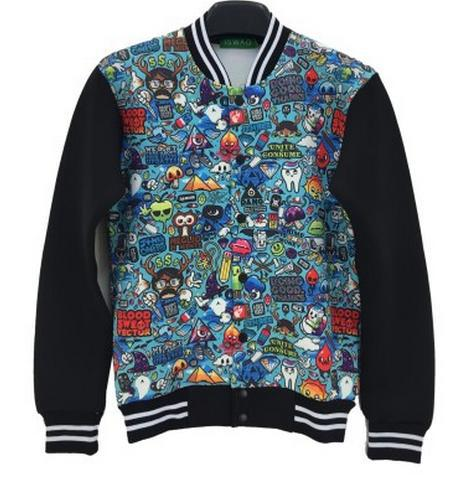 Couture Harajuku style new 2015 autumn outwear coats 3D print cartoon expression casual baseball jackets for men/women Size S-XL(China (Mainland))