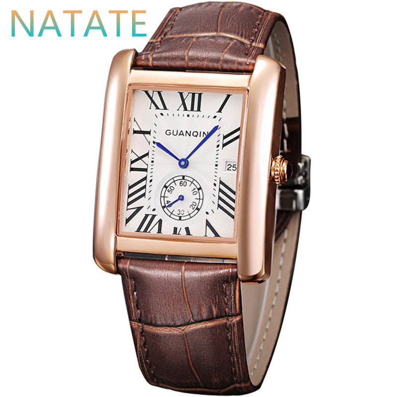 NATATE Top Fashion Men Watches Waterproof Ultra-thin GUANQIN Genuine Leather Strap Wristwatches Business Quartz Watches 0840<br><br>Aliexpress