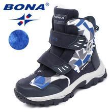 BONA Yeni Popüler Stil Çocuk Botları Kanca ve Döngü Erkek Kış Ayakkabı Yuvarlak Ayak Kız yarım çizmeler Rahat Hızlı Ücretsiz Kargo(China)
