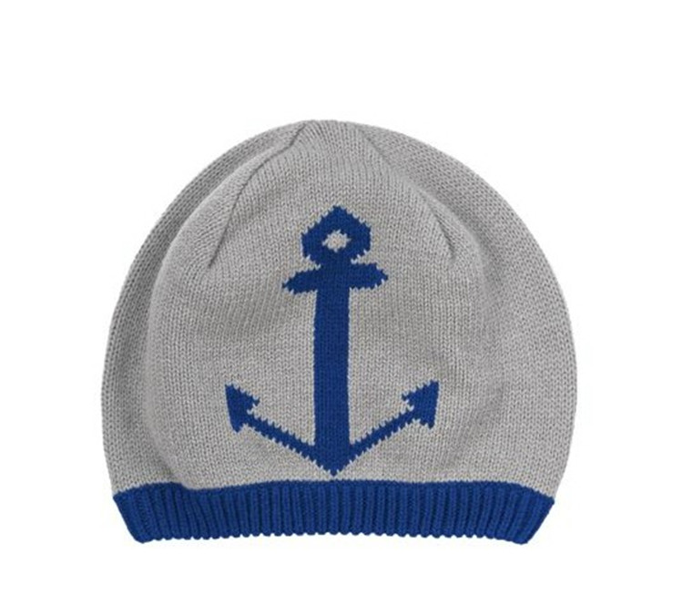 2016 1pcs Navy fall/winter style boys ' knitted Hat sea anchor boys cap children cap Children's accessories(China (Mainland))