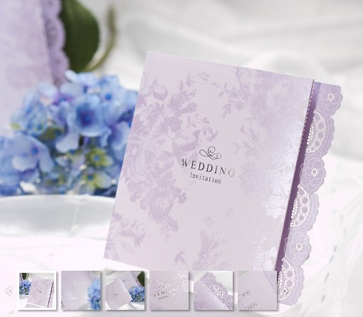 50pcs/set free envelop and free seal Delicate purple Lace Cut-out Z-fold Wedding Invitation card B0003(China (Mainland))