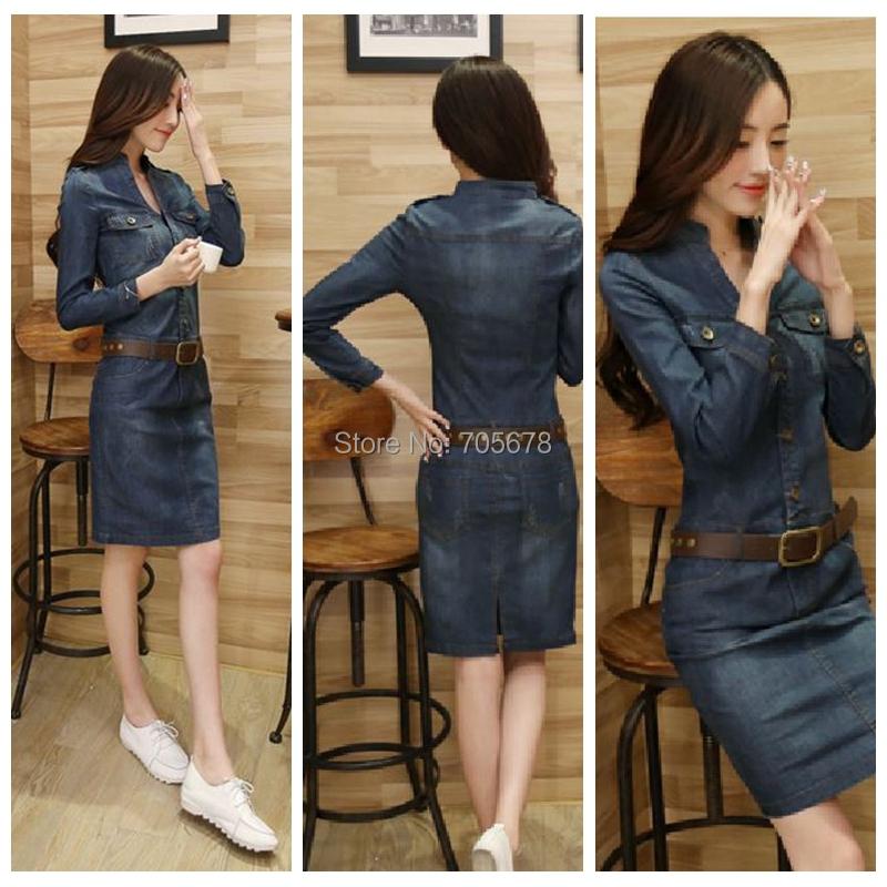arrive autumn fashion new style slim long light blue Women denim dress nu-1 - Shenzhen ligo Technology Ltd store