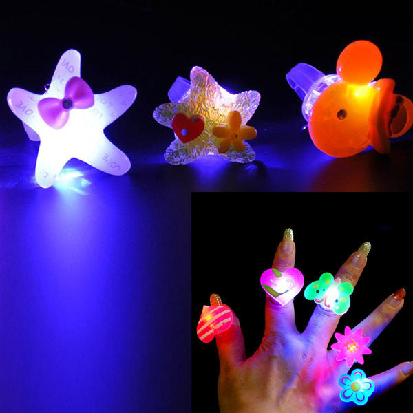 Cute Cartoon Blinking LED Light Up Jelly Finger Rings Party Favors For Child Girls Boys Children'Day High Quality(China (Mainland))