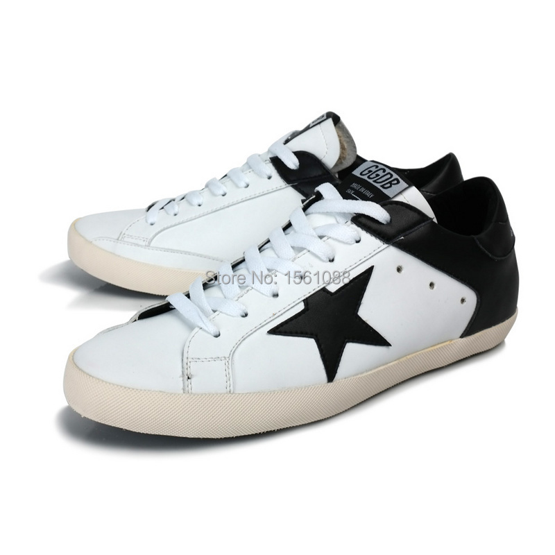 2014 New Fashion GOLDEN GOOSE Old Super Star Sneakers Cowboy And Genuine Leather Man Women Shoes GGDB black/white ltd(China (Mainland))