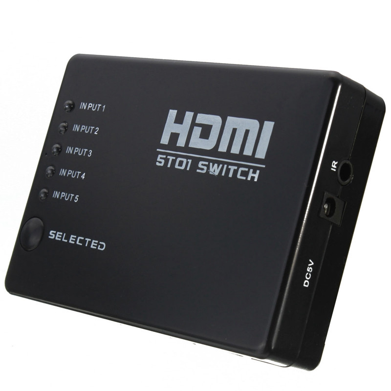 5 Port 1080P HDMI Switch Switcher Splitter Box Hub With Wireless IR Remote Control for HD-DVD for Sky-HD STV(China (Mainland))