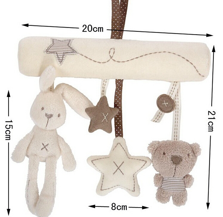 Baby Rattle Toys hanging toy baby Stroller Rabbit Hanging rattle Bunny Plush tape music hanging bed plush rabbit hang toys cute(China (Mainland))