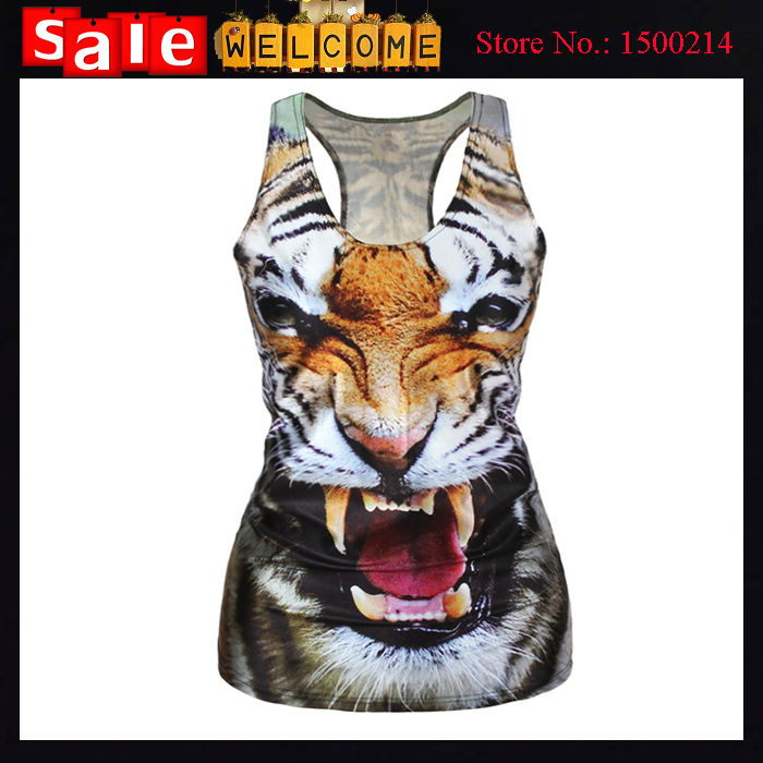 2016 New Fashion Summer Cute Animal 3D Print Tiger T Shirt Sexy Sleeveless Club Holiday Party Leopard Dress for Women Ladey(China (Mainland))