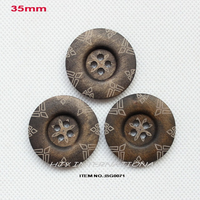 (60pcs/lot) 4 holes round large wooden buttons bulk crafts accessories sewing woo button 35mm-BG0071