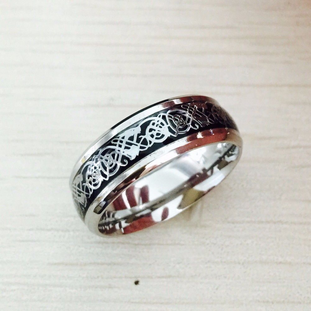 361L stainless steel high-end fashion retro dragon ring for men and women(China (Mainland))