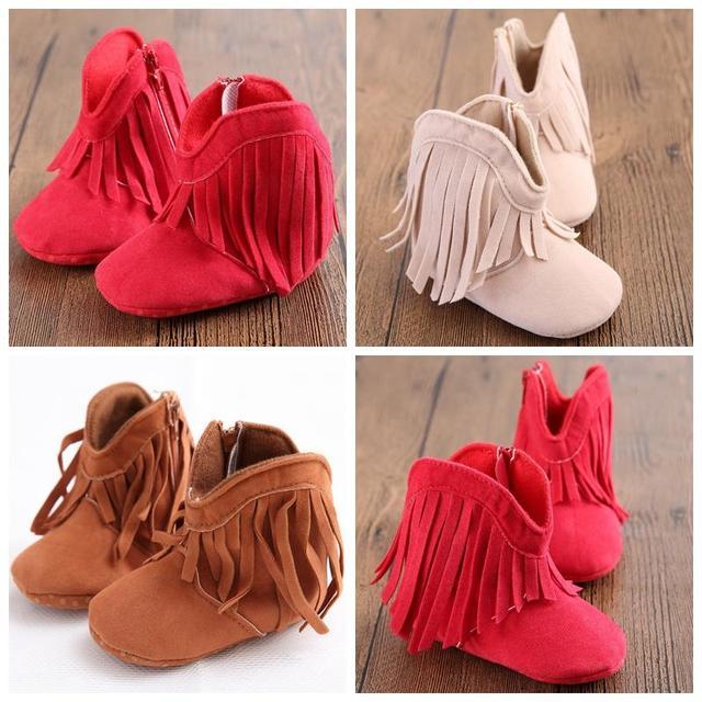 3 цветов 3 размер новорожденных девочка мальчик Prewalker обуви классический отдых снег бахрома обувь младенческой малыша принцесса обувь