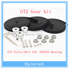 GT2 Gear kit 6X F623ZZ Bearing + 3X 2M Belt GT2 16 Tooth Pulley bore 5mm for Delta Rostock Kossel Mini
