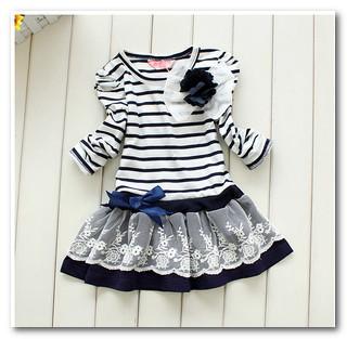 hot sale fall korean girls stripe Bow lace princess dress kids flowers bubble sleeve party dress children holiday dresses 1676