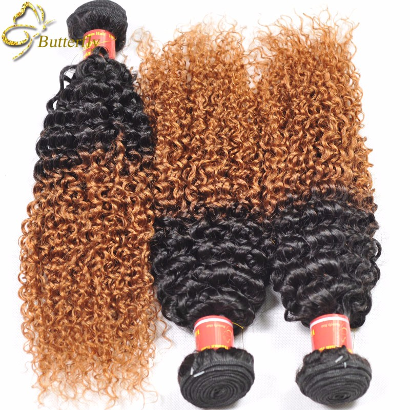 7A Brazilian Hair Blonde Human Hair Extensions Ombre Weave 3 Pcs Ombre Brazilian Hair Weaving 1b 27,30 Kinky Curly Virgin Hair