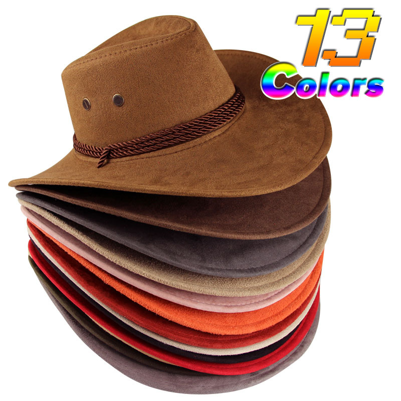 Western Culture 13 Colors Summer Style Fashion Casual Women Sun Hats Leather Chapeu Cowboy Hat For Men(China (Mainland))