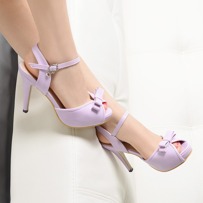 The New 2015 Summer High Heels Stiletto Heels Waterproof Shoes Fish Mouth Shoes Bow A Strappy Sandals Female(China (Mainland))