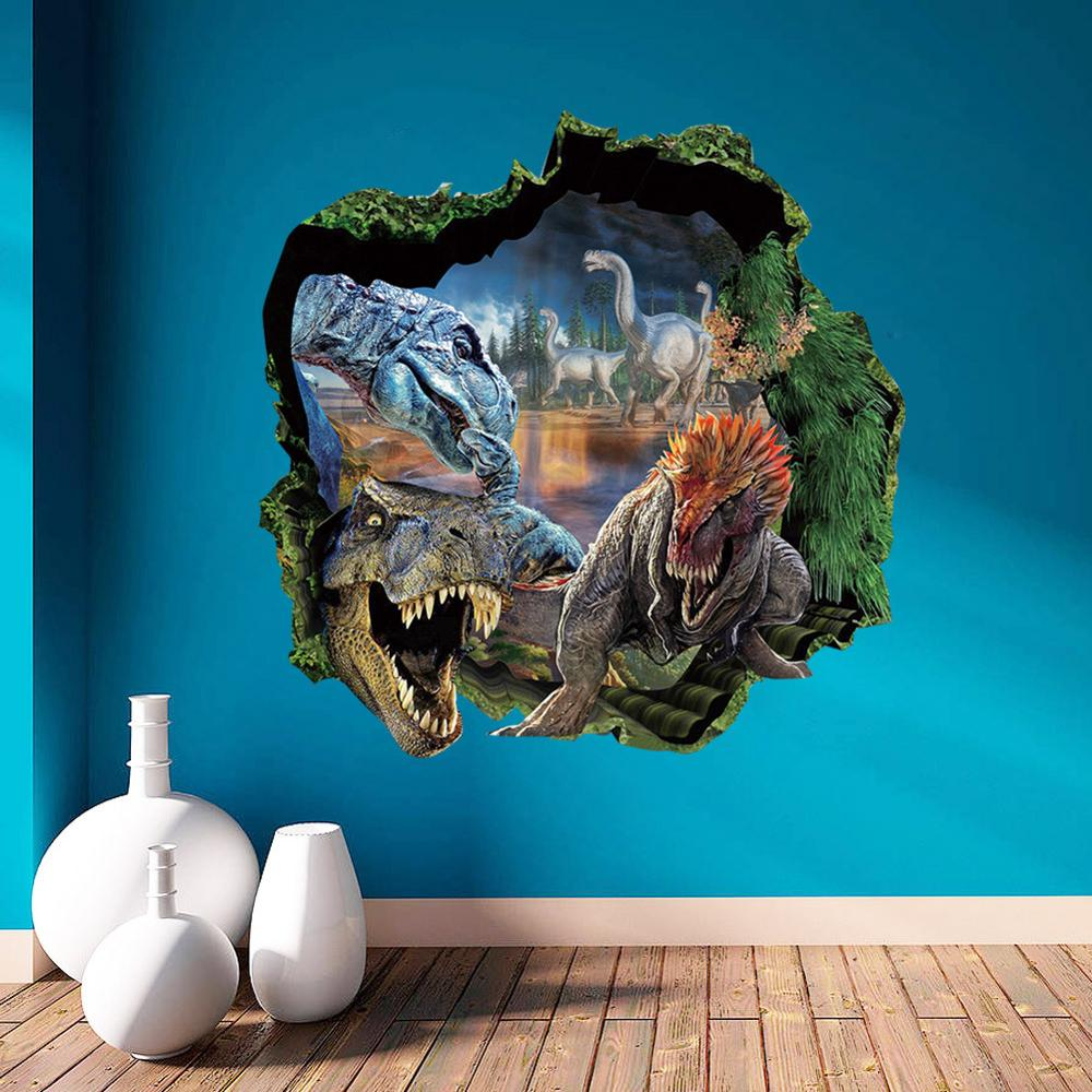 Jurassic Park 3D wall sticker / living room bedroom decorative painting / waterproof stickers / 50 * 50cm(China (Mainland))