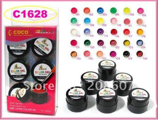 UV Color Gel Freeshipping 5ml 6pcs/set 30color UV Color Gel Pure Color Soka Off  Nail Art Polish
