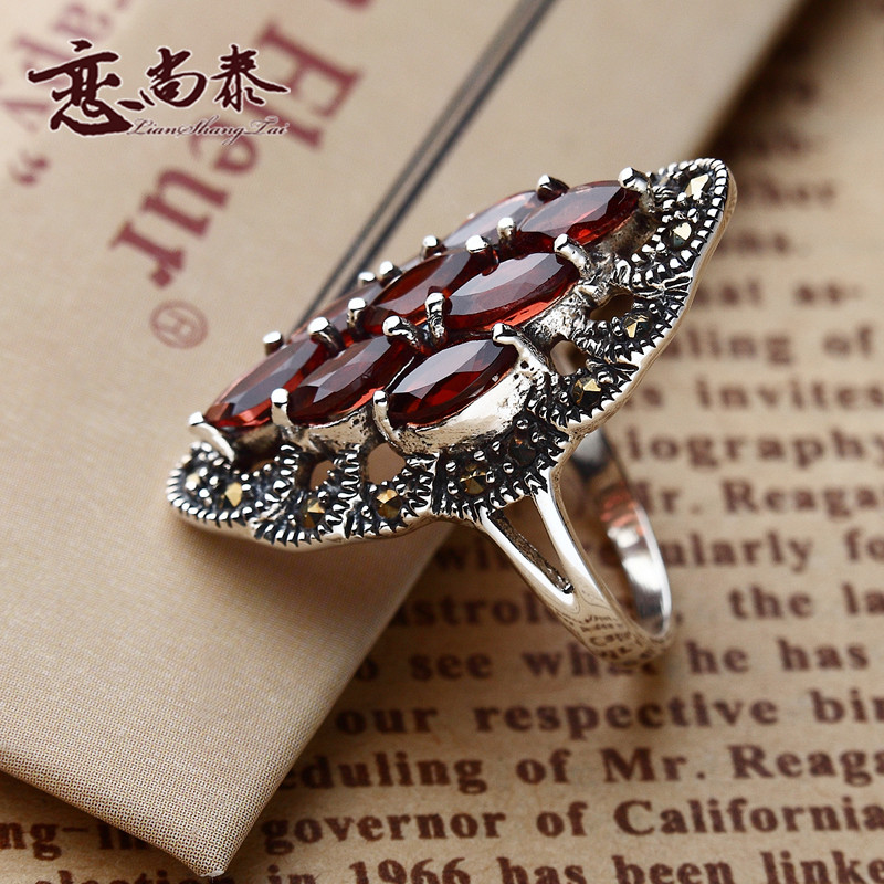 925 Sterling silver red Garnet Bohemian Retro Fashion rings Red Crystal Women jewelry accessories girlfriend birthday gift - Moonlight encounter store