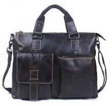Genuine Leather men bag Vintage Oil Wax men's briefcase shoulder bussiness Laptop bag men messenger bags men's travel bags 2015(China (Mainland))