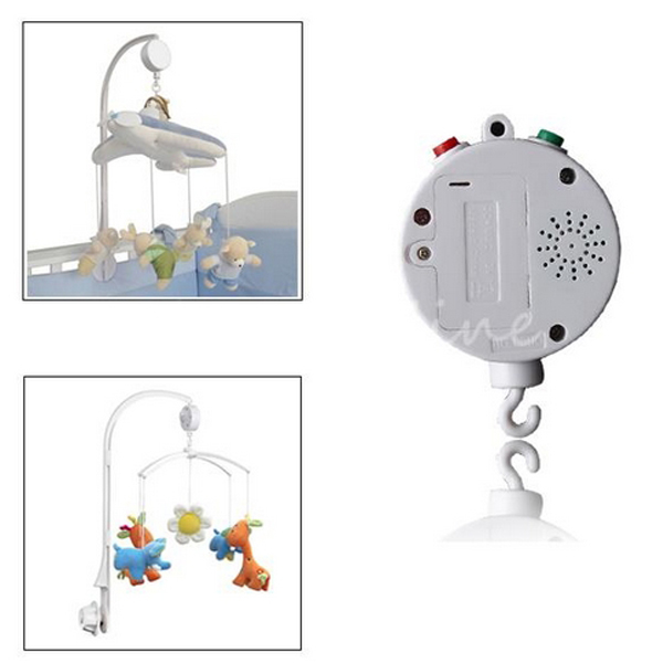 12 Melodies Song Baby Mobile Crib Bed Bell Electric Autorotation Music Box White Free Shipping(China (Mainland))