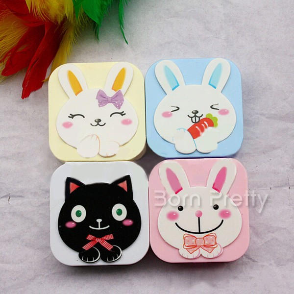 1pc Hot Sell Cute Cartoon Contact Lenses Case Box (Random Pattern)