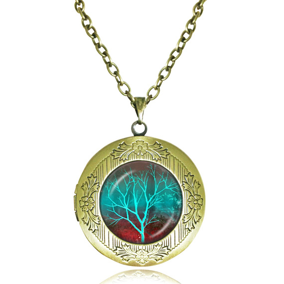 glowing turquoise Tree locket Necklace Tree of Life Necklace Jewelry glass dome pendant lockets jewelry antique bronze neckless(China (Mainland))